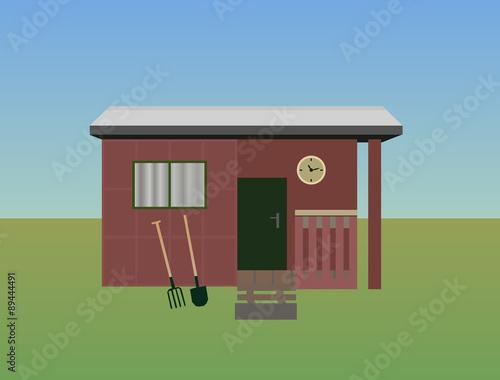 Fotografía Vector illustration of gardening - old garden shed
