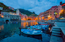 Sunset In Harbor, Vernazza, Italy