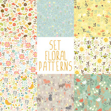 8 Seamless Patterns With Hand Painted Flowers