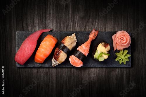Foto op Aluminium Sushi bar Sushi on black stone plate