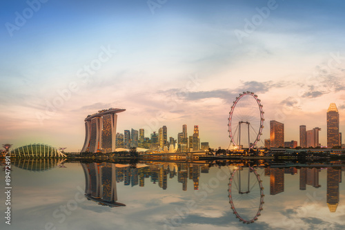 Singapore Skyline and view of Marina Bay Canvas Print