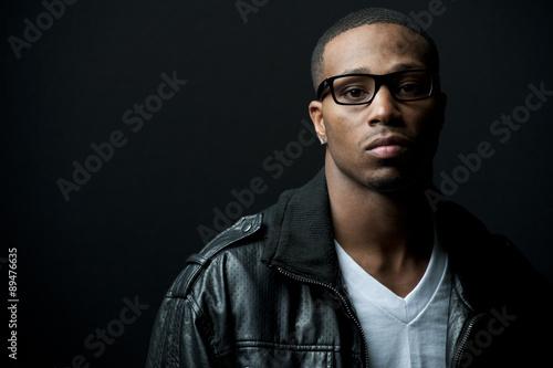 Fotografie, Obraz  Black Man Leather Jacket