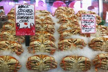 Dungeness Crabs At The Pike Place Fish Market, Seattle, USA