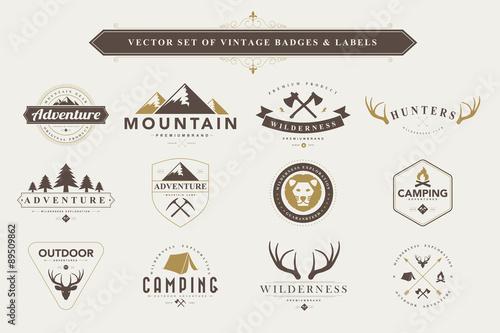 Set of vintage badges and labels. Wallpaper Mural