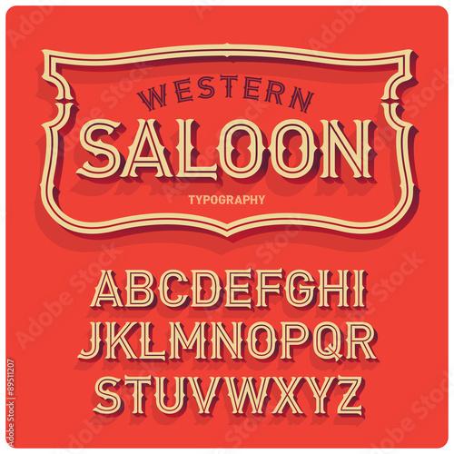Vintage western style volume font with emblem frame. Warm background. Wall mural