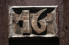Old Retro Weathered Carved Wooden Home Plate With Number 54