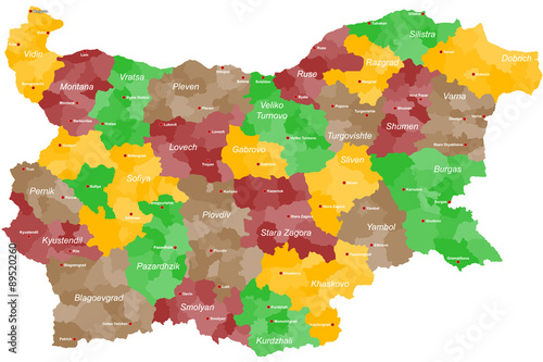 A large and detailed map of Bulgaria with all provinces, regions and main cities Wallpaper Mural