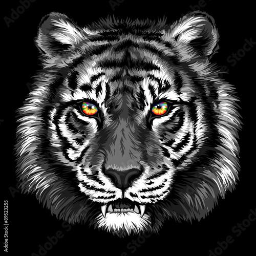Deurstickers Hand getrokken schets van dieren Powerful tiger with bright eyes