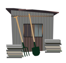 Vector Isolated Old Garden Shed