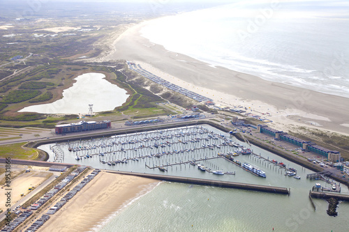 Obraz na plátně Aerial view of yacht harbor with beach of IJmuiden, The Netherlands