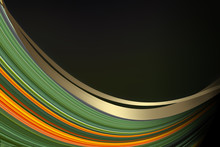 Abstract Green Background With Yellow Wavy Lines
