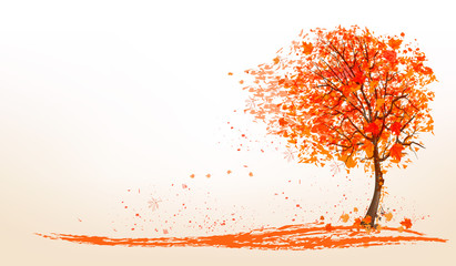 FototapetaAutumn background with a tree and golden leaves. Vector.