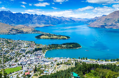 Fotobehang Nieuw Zeeland Aerial view of Queenstown in South Island, New Zealand