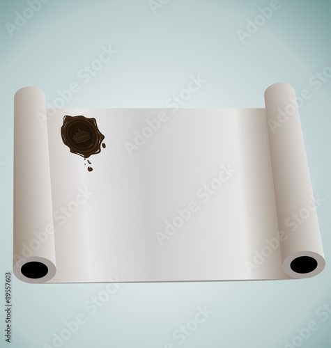 Fotografie, Obraz  Illustration of paper roll with brown wax sealing