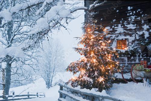 Austria,Salzburg Country,Flachau,View of illuminated christmas tree with sleigh Poster