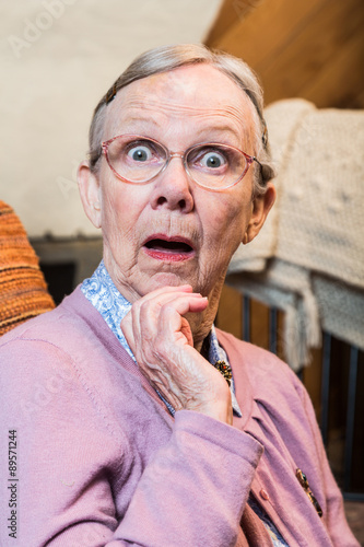 Fotografie, Tablou  Surprised Old Woman