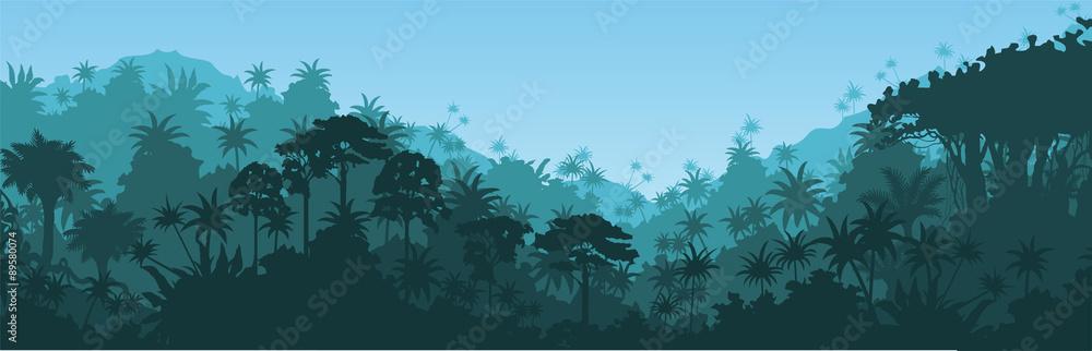 Fototapeta Vector horizontal tropical rainforest Jungle background