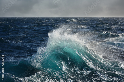 Stickers pour porte Eau sea wave in the atlantic ocean during storm