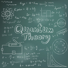 Quantum Theory Law And Physics Mathematical Formula Equation, Doodle Handwriting Icon In Blackboard Background With Hand Drawn Model, Create By Vector