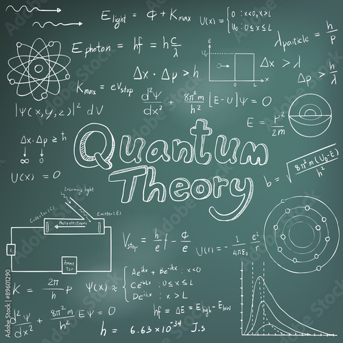Fotografie, Obraz  Quantum theory law and physics mathematical formula equation, doodle handwriting