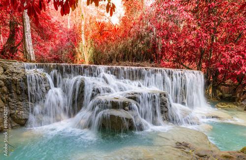 Poster Taupe Kouangxi waterfall at Luang prabang in Laos.