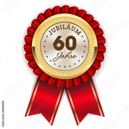 Poster  Gold 60 Jahre Jubiläum Rosette mit roter Sherpe