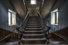 Wooden Staircase In An Abandon...