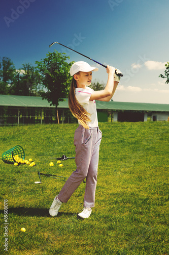 Deurstickers Golf Girl playing golf
