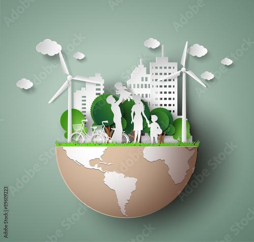 Fotografie, Obraz  paper cut of eco