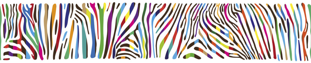 Panel Szklany Zebry Background with multicolored Zebra skin