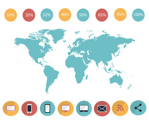 Fototapeta na wymiar Infographic world map element