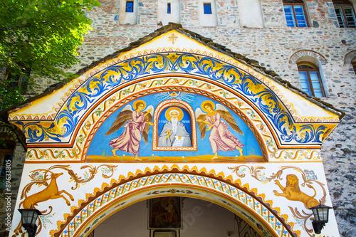 Fotografie, Obraz  Wall painting at the entrance of Rila Monastery, Bulgaria