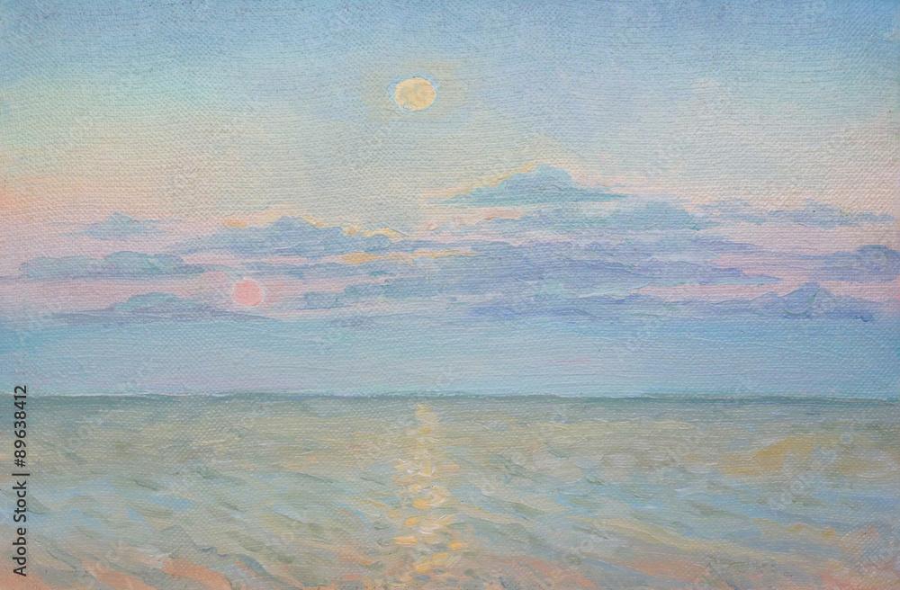 Fototapeta landscape, oil painting, canvas, painting a picture
