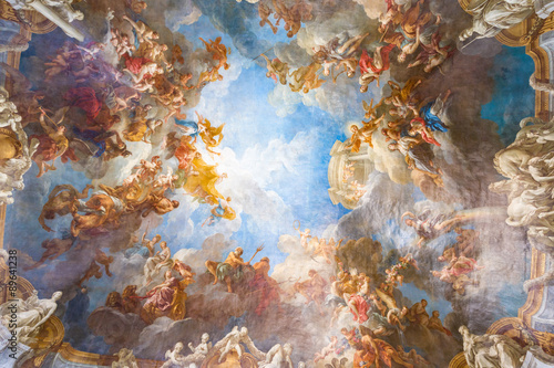 Foto op Plexiglas Artistiek mon. Ceiling painting of Palace Versailles near Paris, France