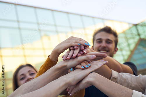 Fotografie, Obraz  Group of Students with Hands in Stack, Teamwork
