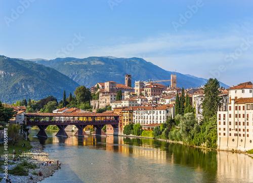 Vászonkép Old bridge in Bassano del grappa in Italy