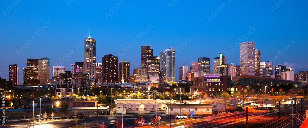 Fototapeta Downtown Urban Metro City Skyline Denver Colorado Sunset Dusk