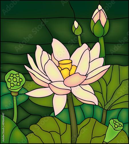 lily-lotus-ilustracja-wektorowa-w-witraz