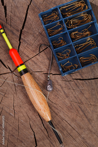 Fotografie, Obraz  Fishing tools hook and bobber