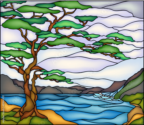 Tree Mountains And River Vector, Stained Glass Trees Images