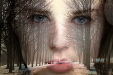 Double Exposure. Portrait Of A Girl