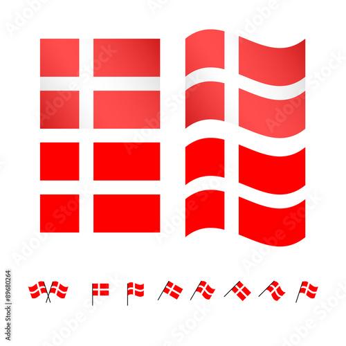 Photo  Denmark Flags EPS 10