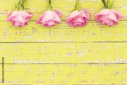 Fotografie, Obraz  Shabby Chic Grußkarte Verliebt Rosa Rosen