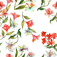 Fototapeta Seamless watercolor flowers (alstroemerias) background pattern
