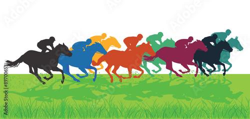 Obraz na plátně Galopp Pferde mit Jockeys