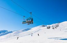 Ski Lift.  Ski Resort Livigno. Italy