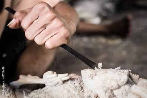 Foto  Holzschnitzer, Bali, Indonesien