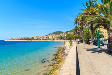 Coastal Promenade With Palm Trees In Ajaccio Town, Corsica Island, France
