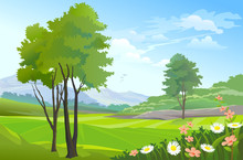 Beauty Of Nature:  Countryside Hills And Flowers
