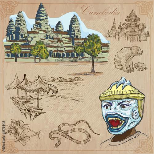Foto  Kingdom of Cambodia - Hand drawn vector pack
